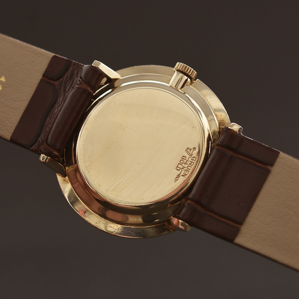 50s GRUEN Precision 14K Gold Textured Gents Watch