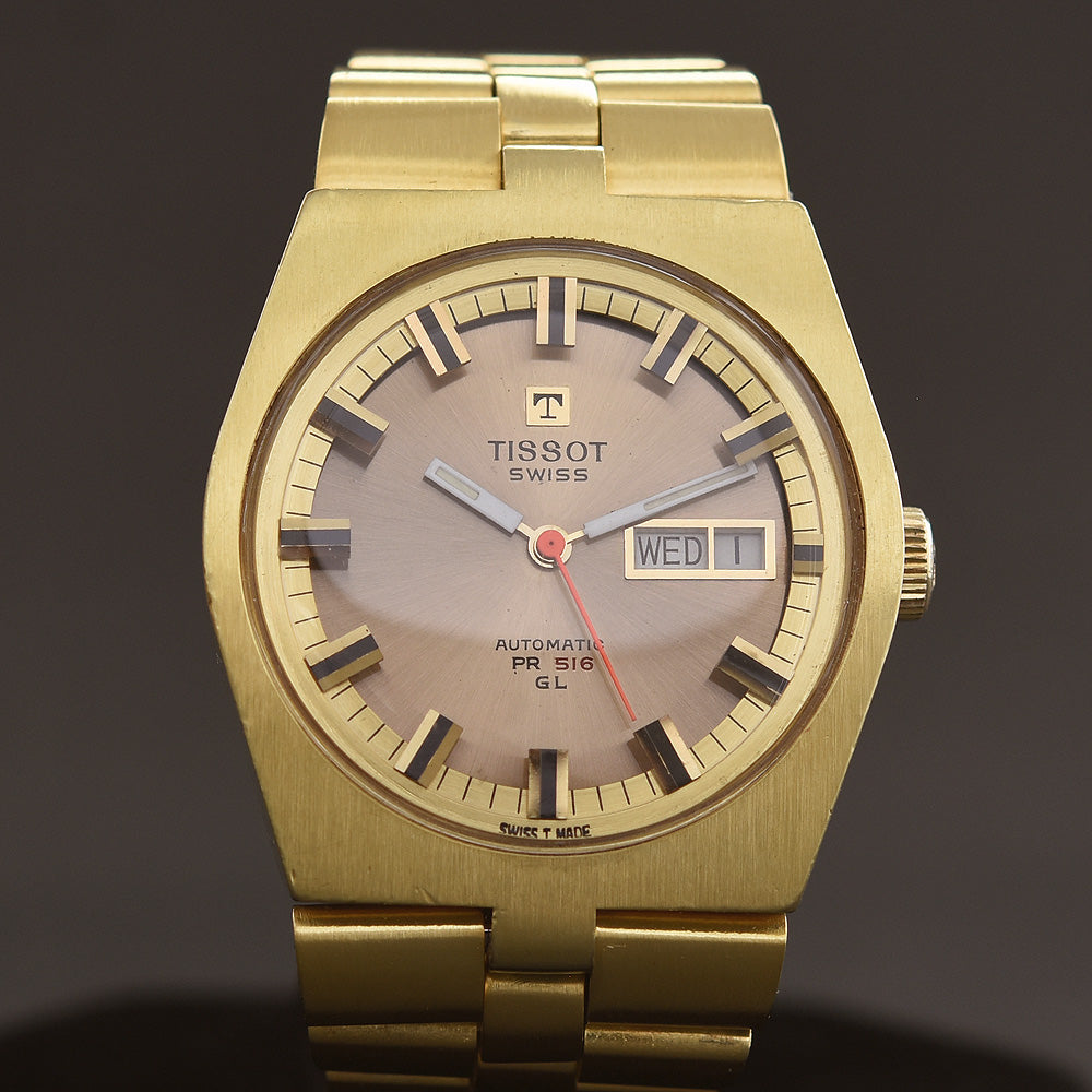1970 TISSOT Automatic PR 516 GL Day Date Golden Gents Watch