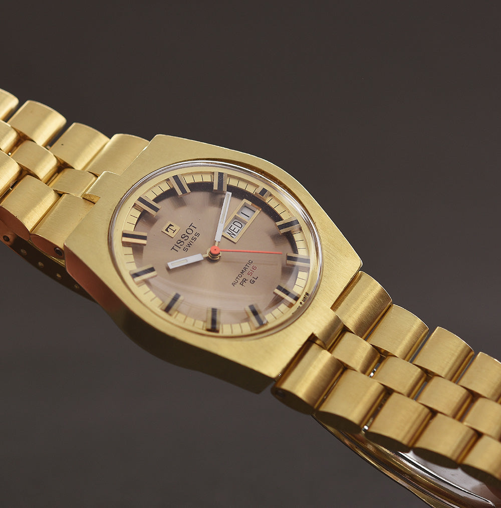 9f0a94227a9 1970 TISSOT Automatic PR 516 GL Day Date Golden Gents Watch ...