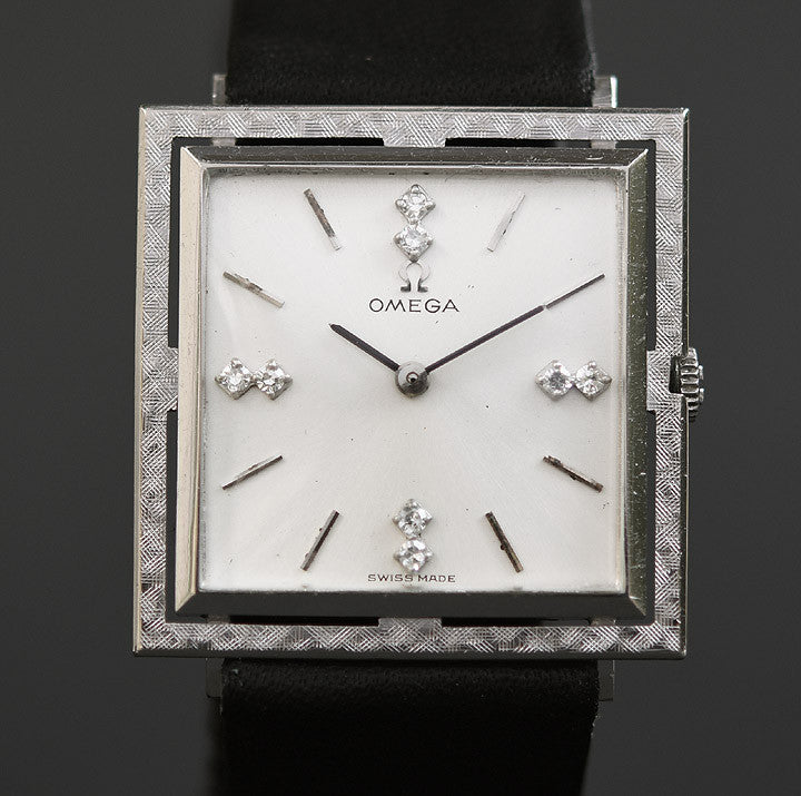 1966 OMEGA Gents 14K Solid White Gold Dress Watch D6650