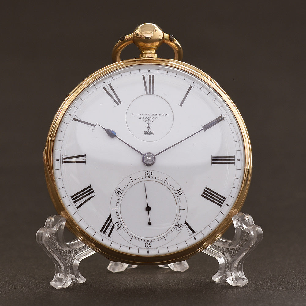 1866 E. D. JOHNSON London 18K English Fusee Pocket Watch