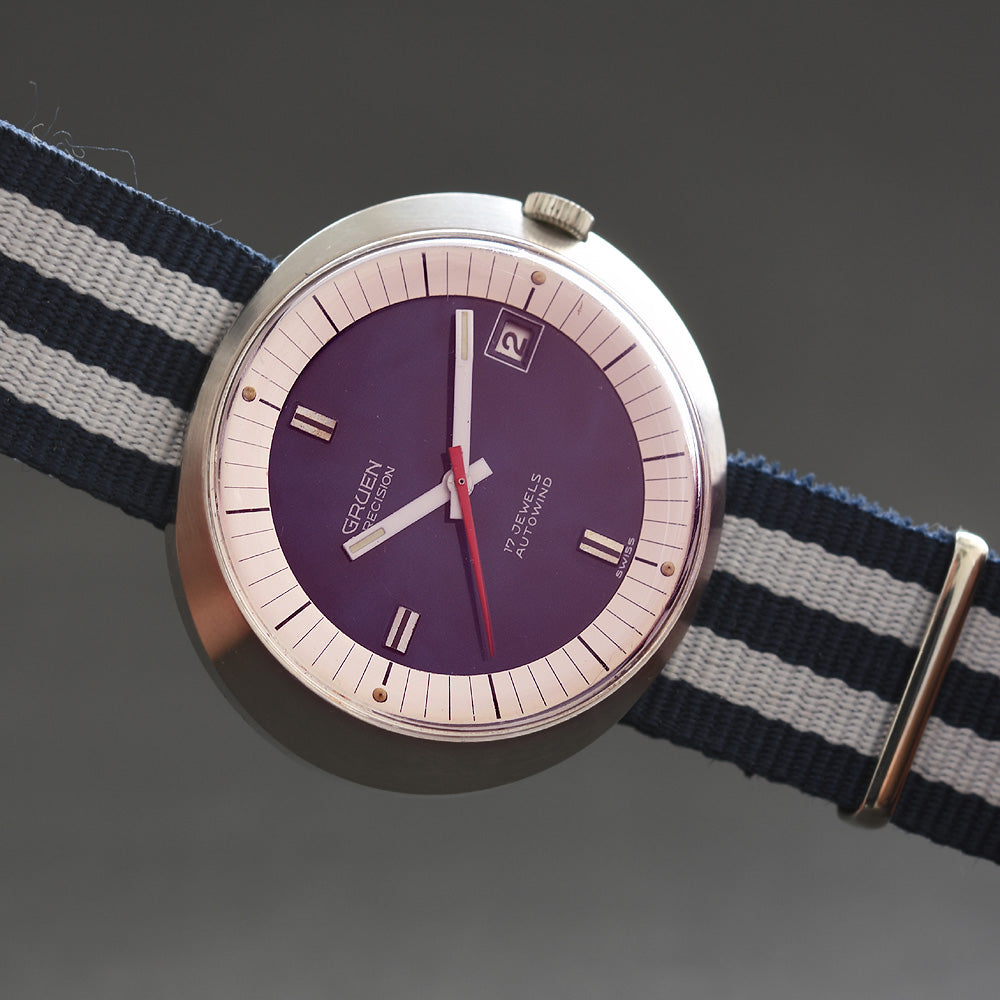 60s GRUEN Precision Autowind 'Dynamic' Date Stainless Steel Gents Watch