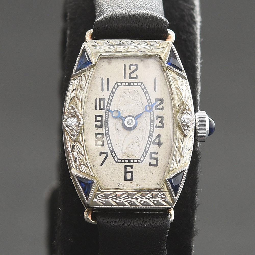 20s RAMLE Ladies 18K Gold & Diamonds/Sapphires Art Deco Watch