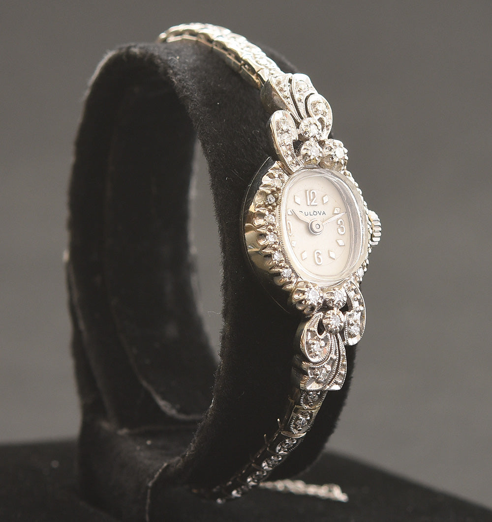 1967 BULOVA USA 23 Ladies 14K Gold/Diamonds Cocktail Watch