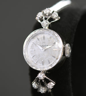 1957 OMEGA Ladies 14K Gold/Diamonds Cocktail Watch