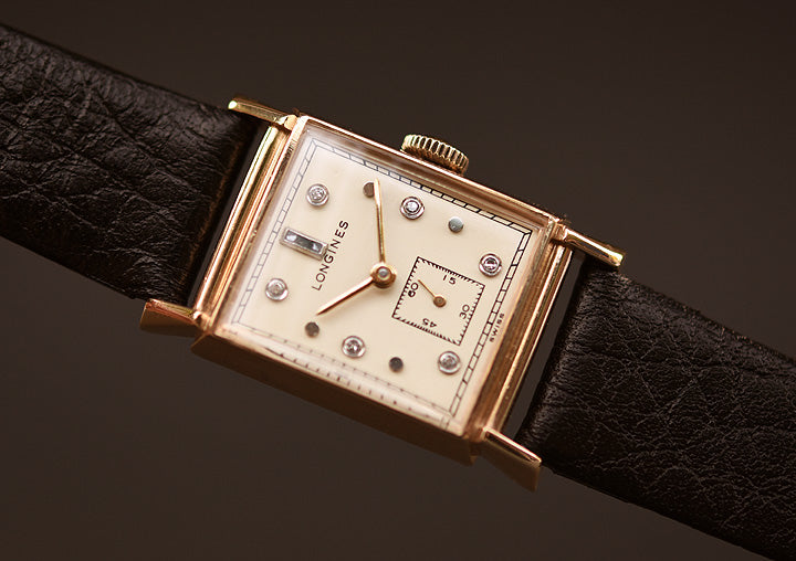 1949 LONGINES Gents 14K Solid Gold/Diamonds Dress Watch
