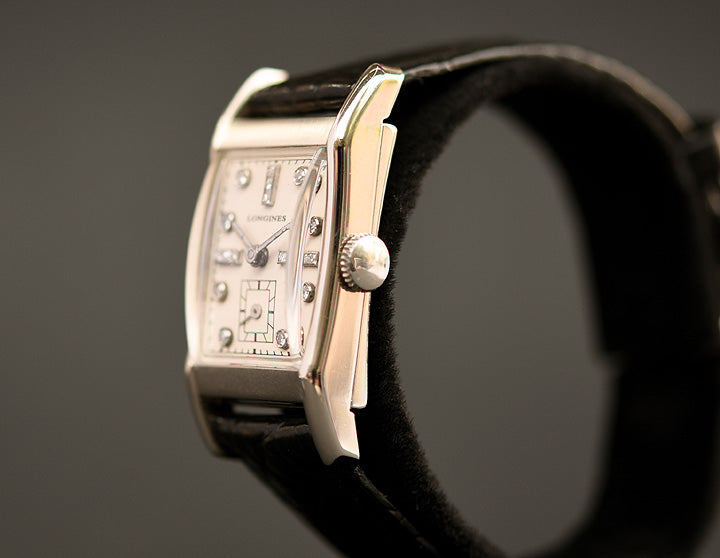 1948 LONGINES Gents 14K White Gold/Diamonds Dress Watch