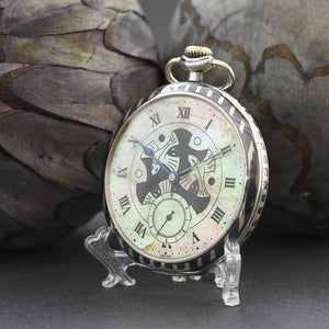 1928 IWC Schaffhausen M.C. Escher Swiss Silver/Niello Pocket Watch