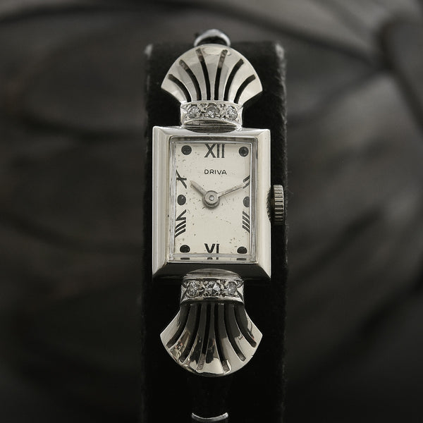 30s DRIVA Ladies 14K Gold/Diamonds Art Deco Watch