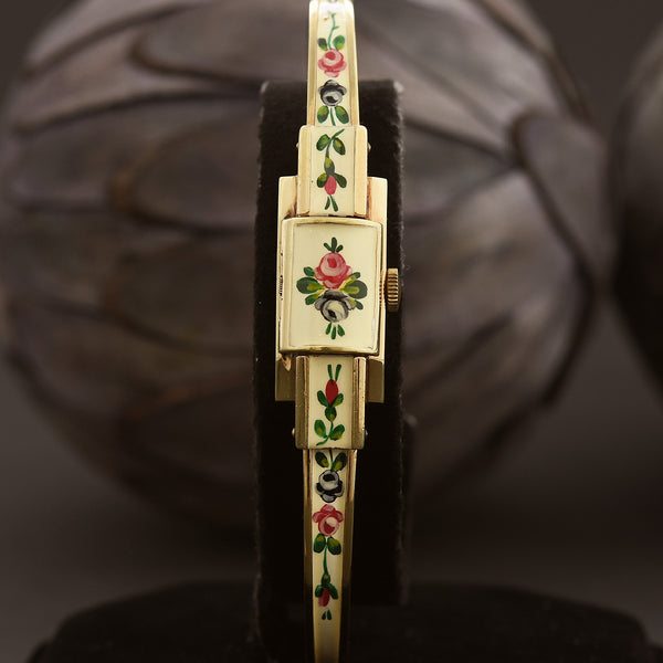 60s CARON Swiss Ladies Enamel Bracelet Watch