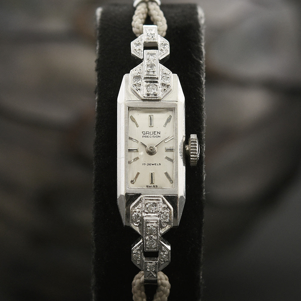 1933 GRUEN Ladies 14K Gold & Diamonds Art Deco Watch