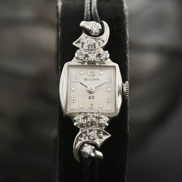1959 BULOVA USA 23 Ladies 14K Gold/Diamonds Cocktail Watch