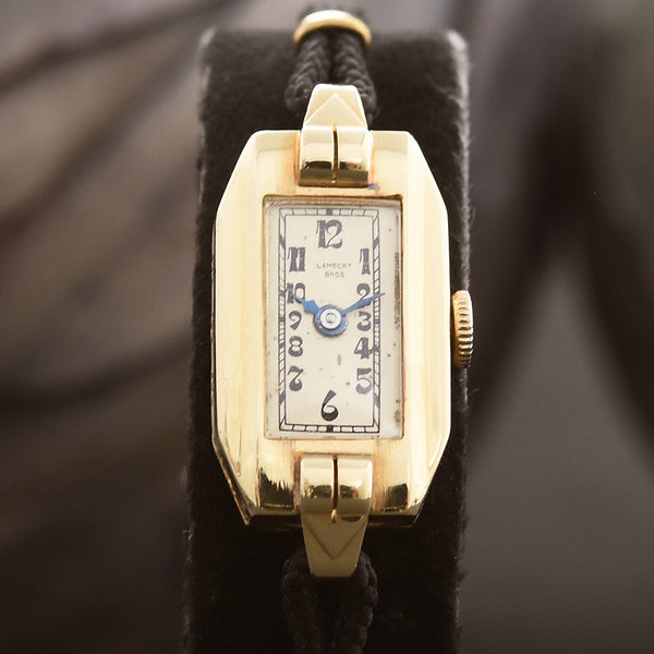 30s GLYCINE Lambert Bros. Ladies Art Deco 14K Gold Watch