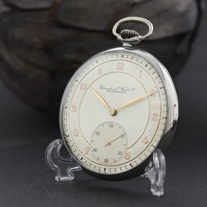 1943 IWC Schaffhausen Swiss Stainless Steel Pocket Watch