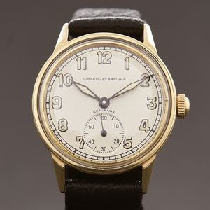 40s GIRARD-PERREGAUX 'Sea-Hawk' 14K Gold Gents Military Style Watch
