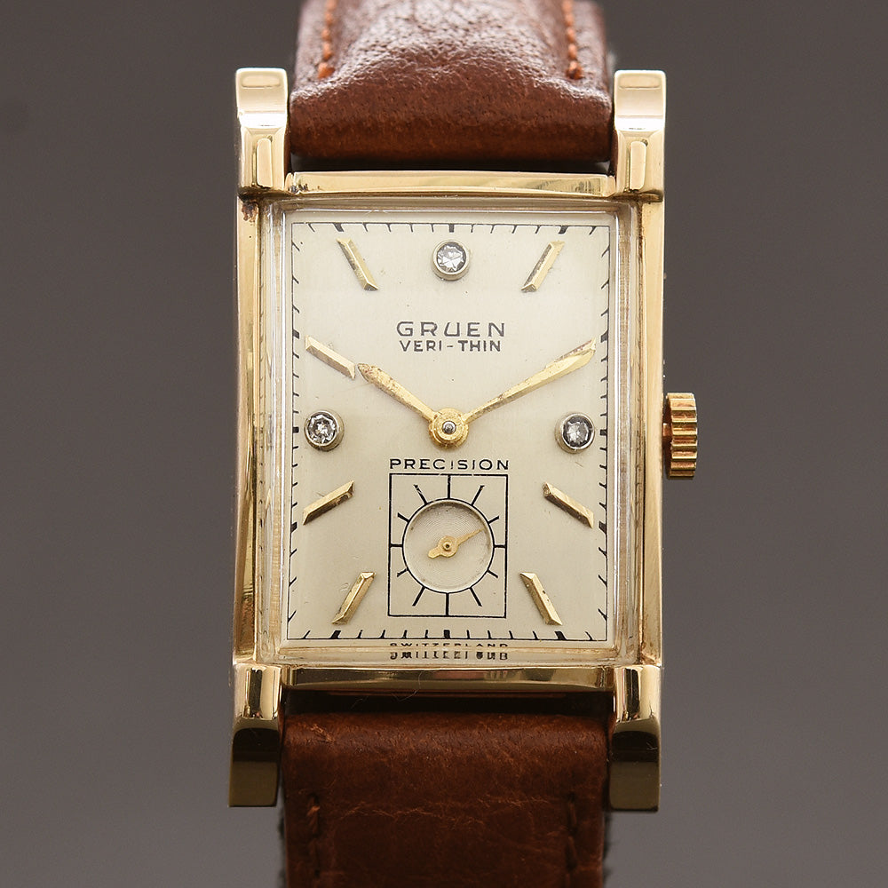 1948 GRUEN Verti-Thin 14K Gold/Diamonds Gents Watch 430-587
