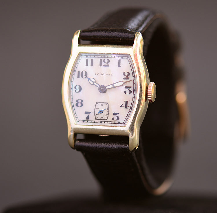 1926 LONGINES Gents 14K Gold Art Deco Dress Watch