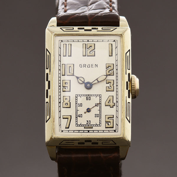1928 GRUEN 'Quadron' Gents Art Deco Watch 157-8W