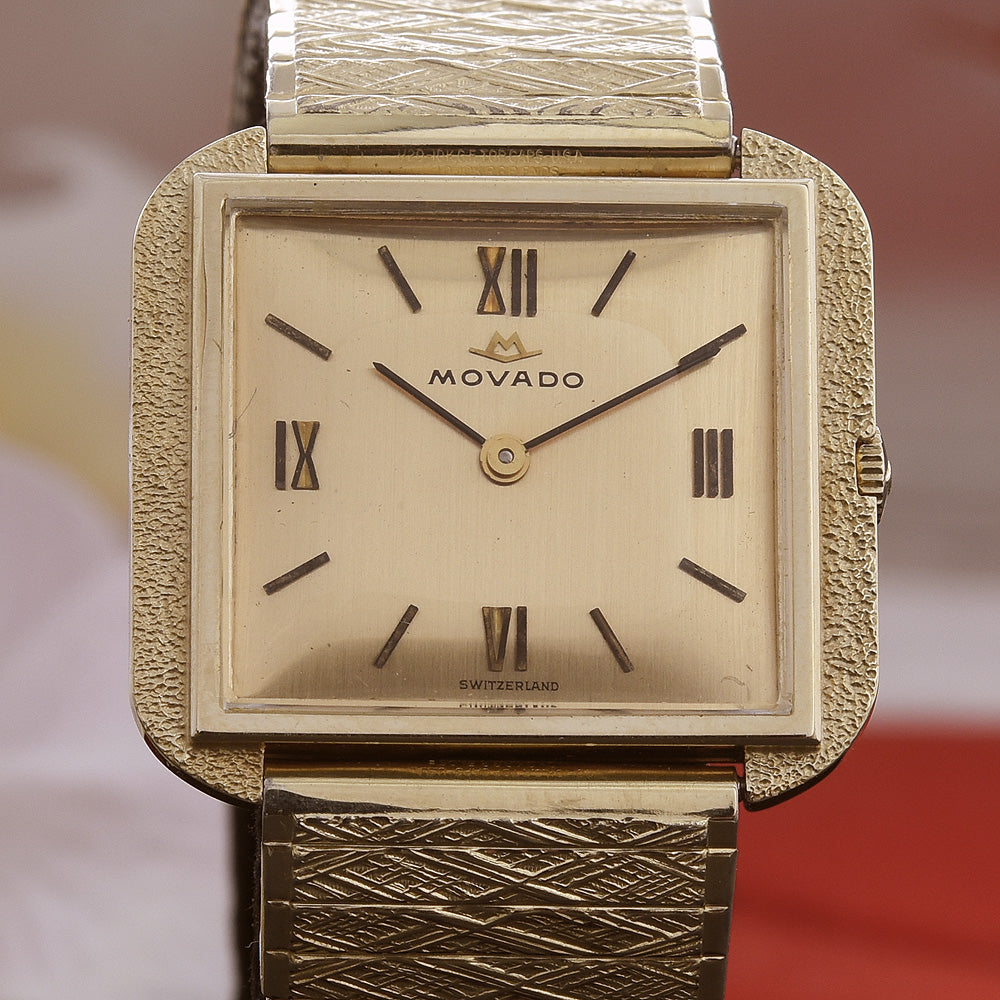 60s MOVADO 14K Solid Gold Gents Vintage Dress Watch w/Box