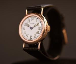 1915 LONGINES Gents 14K Gold Trench WW1 Art Deco Watch