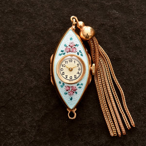 40s INVICTA Swiss Ladies Guilloche/enamel Pendant Watch