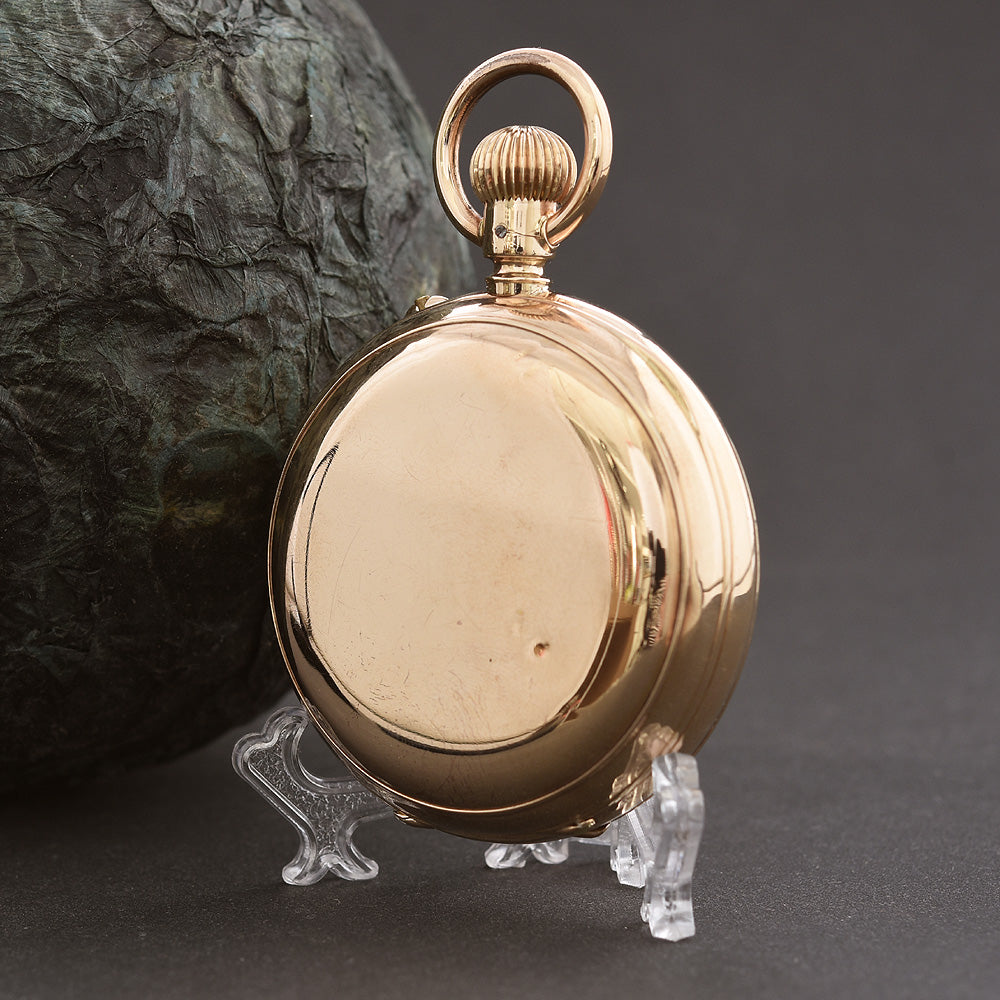 1900s JUMP HOUR 14K Gold Swiss Savonette Hunter Pocket Watch