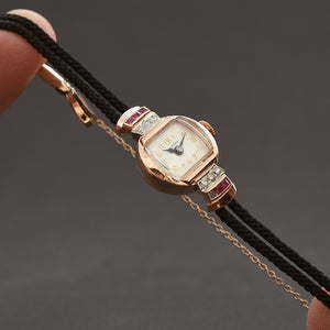 1941 WALTHAM USA Ladies Art Deco 14K Gold Diamonds/Rubies Watch