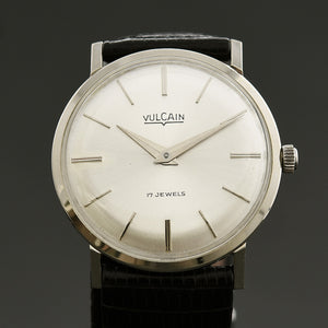 60s VULCAIN Classic 14K White Gold Gents Dress Watch