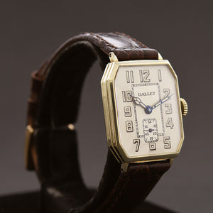20s GALLET 14K Gold Octagon Art Deco Gents Watch