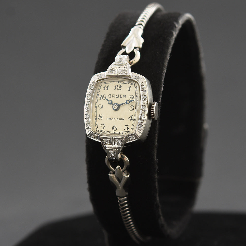 1938 GRUEN 'Banff' 14K Gold/Diamonds Art Deco Ladies Watch