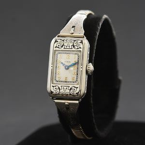 1928 ELGIN USA Model 122 Ladies 14K Solid Gold Art Deco Enamel Watch