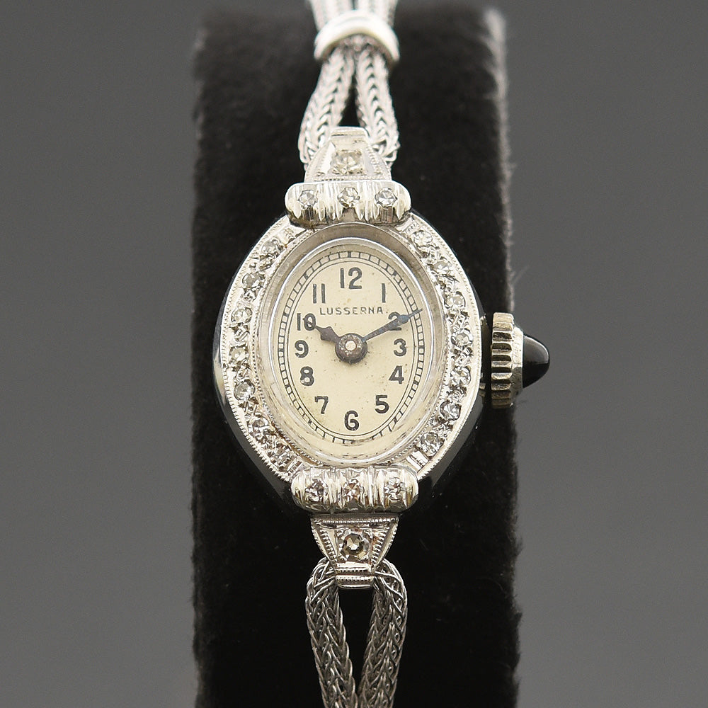40s EBEL Ladies 14K White Gold/Diamonds Swiss Cocktail Watch