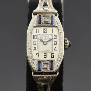 1927 BULOVA 'Countess' Ladies 14K Gold/Diamonds Art Deco Watch
