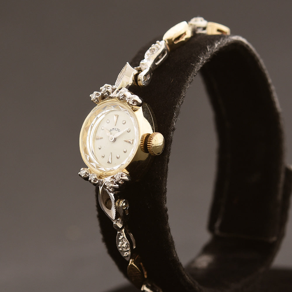 60s HAMILTON USA Ladies Tutone 14K Gold Watch