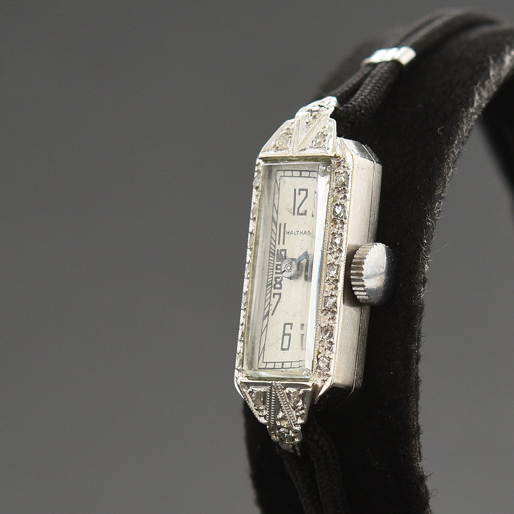 30s WALTHAM USA Ladies 14K Gold & Diamonds Art Deco Watch