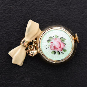 40s BANNER Swiss Ladies Guilloche/enamel Lapel/Pin Watch