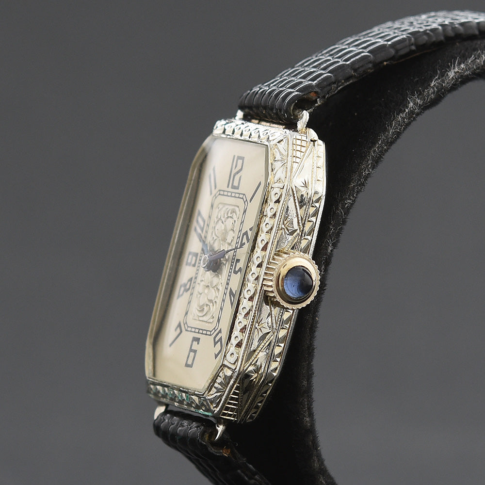 1923 NIVIA Ladies Octagon Art Deco 18K Gold Watch