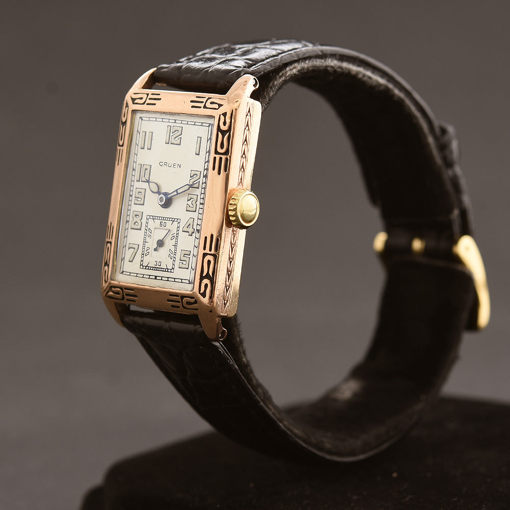 1928 GRUEN 'Quadron' Gents Art Deco Enamel Watch 157-8
