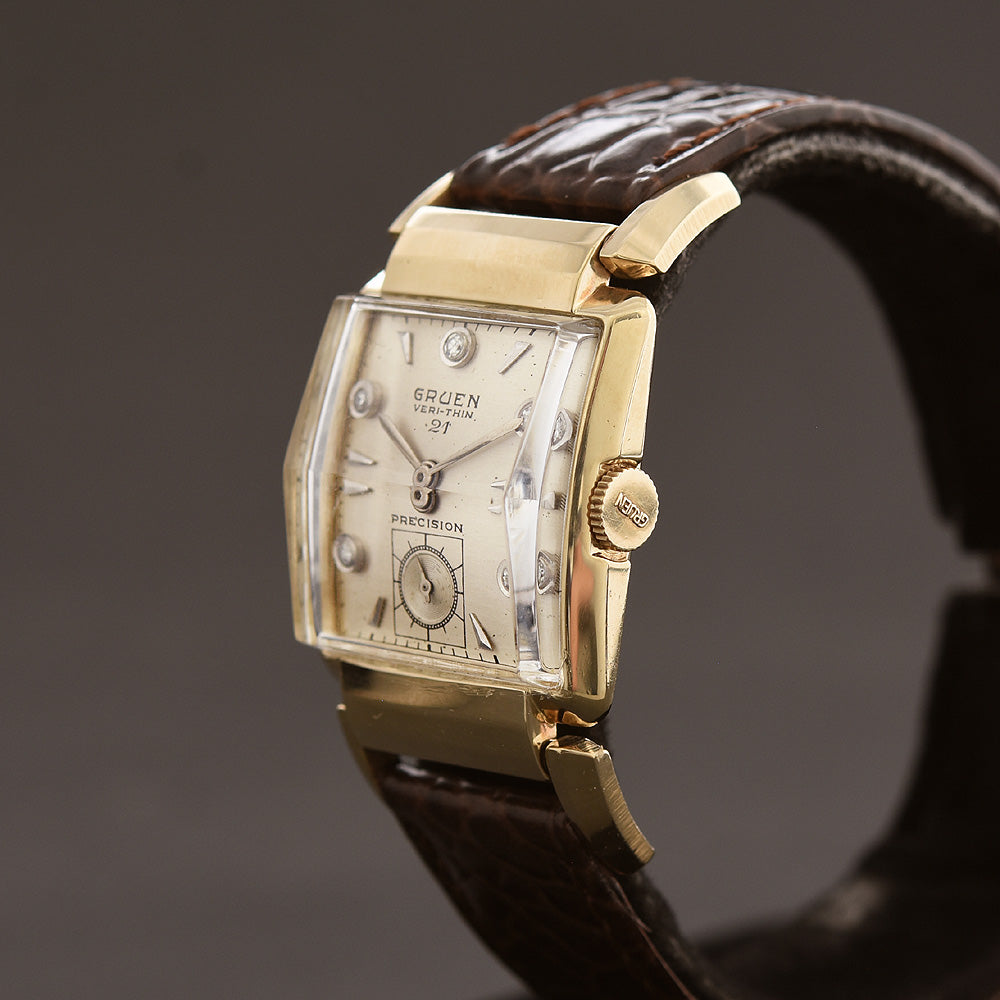 1947 GRUEN Verti-Thin 21 Cincinnati 14K Gold Gents Watch 335-558