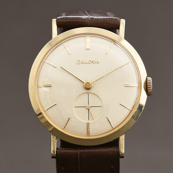 1956 BULOVA USA 'Sherwood' 14K Gold Gents Slim Vintage Watch