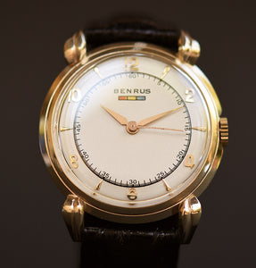 40s BENRUS Tricolor Gents 14K Solid Yellow Gold Watch