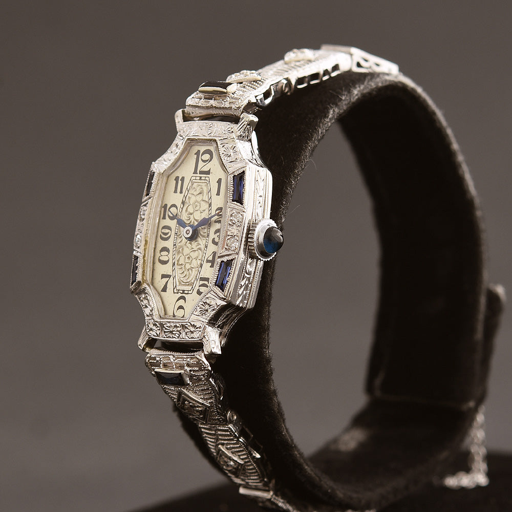 20s HAYDEN Ladies 18K Gold/Diamonds-Sapphires Art Deco Watch