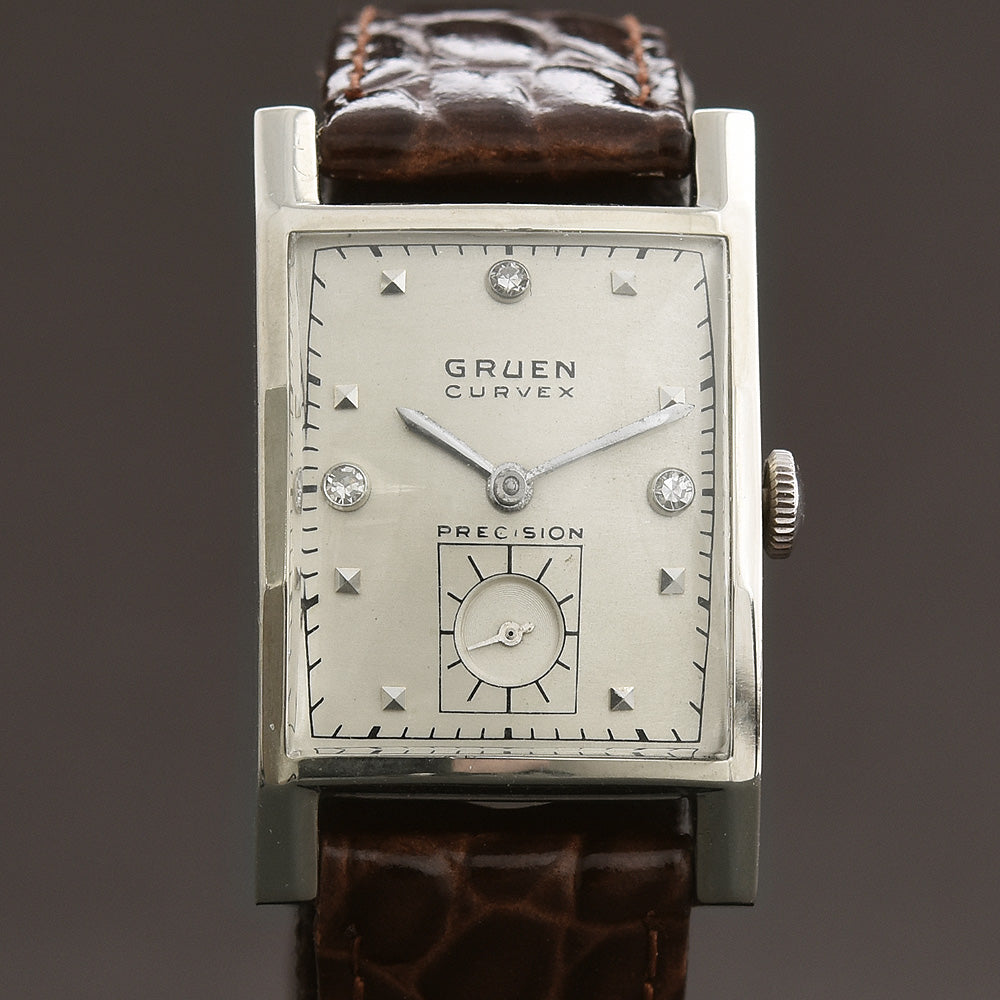 40s GRUEN Curvex 'Executive' 14K Gold/Diamonds Gents Watch