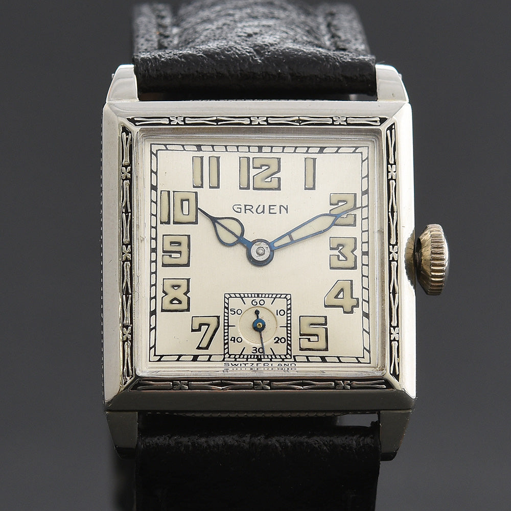 20s GRUEN Guild Gents Art Deco Square Enamel Watch 885-11