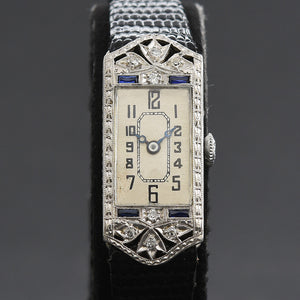 20s PERLA Ladies Platinum/18K Gold & Diamonds Art Deco Watch