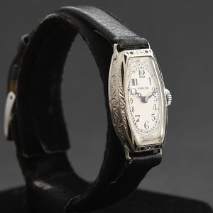 1930 HAMILTON USA 'Chevy Chase' Ladies Art Deco 14K Gold/Enamel Watch