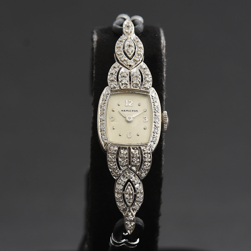 50s HAMILTON USA 14K Gold/Diamonds Heirloom Watch