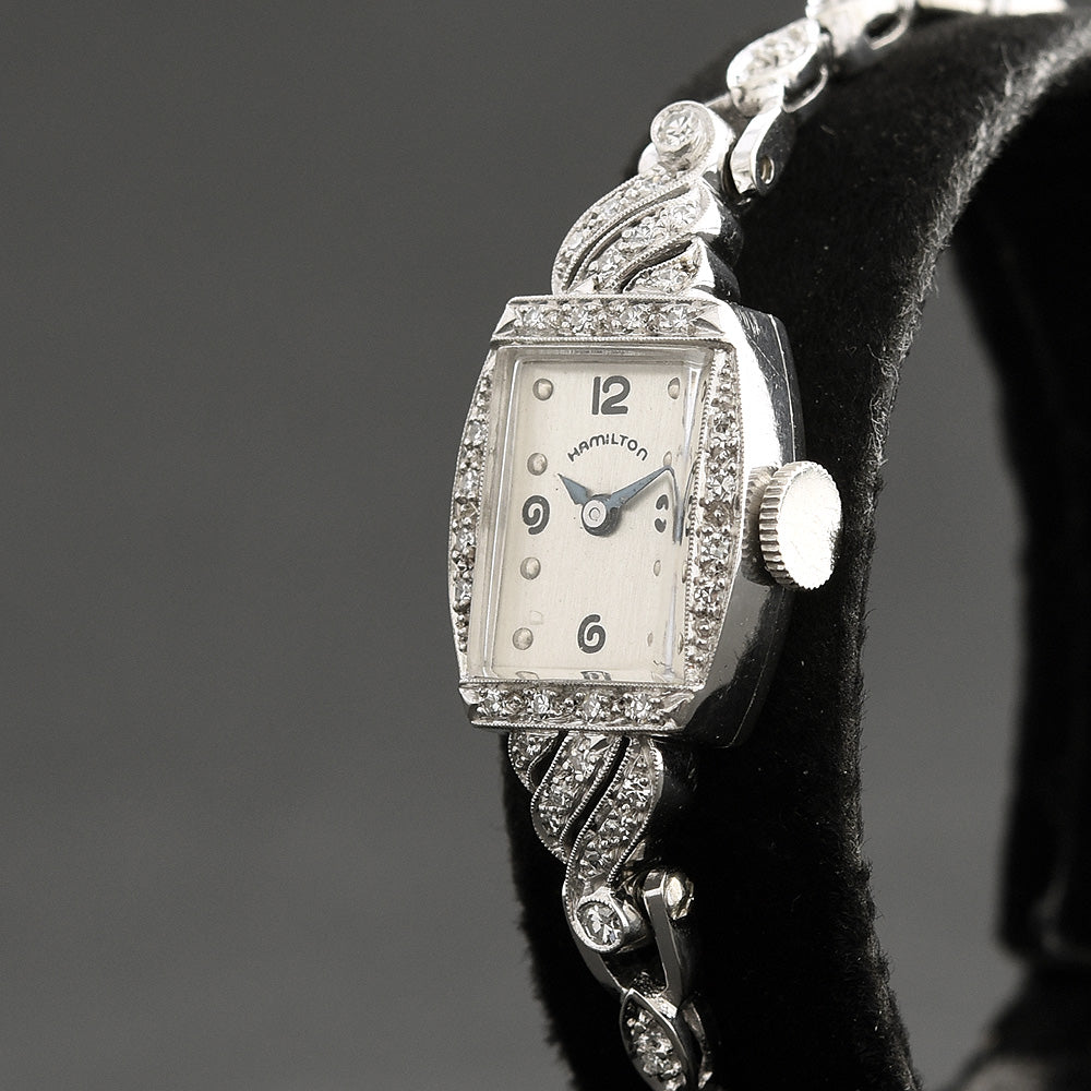 40s HAMILTON USA 14K Gold/Diamonds Platinum Watch