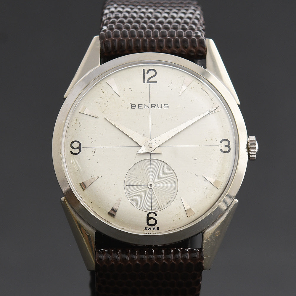 50s BENRUS Gents 14K Solid White Gold Dress Watch