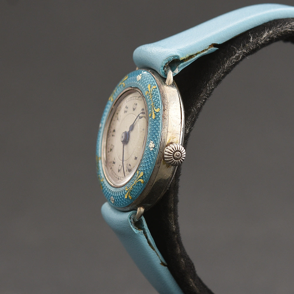 20s LOTUS 0.935 Silver Enamel Ladies Art Deco Watch